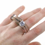 Two Finger Ring with Channel Set Gem