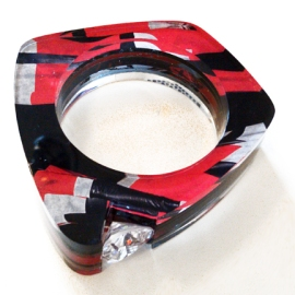 Black & Red Channel Set Bangle