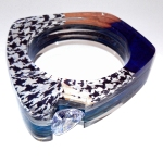 Custom Layered Acrylic Channel Set Bangle - 20mm Trillion - Glod Houndstooth Blue Green 2