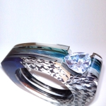 Custom Layered Acrylic Channel Set Bangle - 20mm Trillion - Glod Houndstooth Blue Green 5