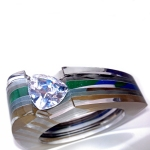 Custom Layered Acrylic Channel Set Bangle - 20mm Trillion - Glod Houndstooth Blue Green TOP