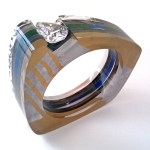 Custom Layered Acrylic Channel Set Bangle - 20mm Trillion - Glod Houndstooth Blue Green