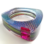 Custom Layered Acrylic Channel Set Bangle - (2)13x18mm Emerald Cut Lab Ruby 1