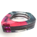 Custom Layered Acrylic Channel Set Bangle - (2)13x18mm Emerald Cut Lab Ruby 2