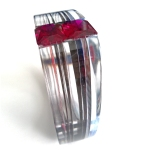 Custom Layered Acrylic Channel Set Bangle - (2)13x18mm Emerald Cut Lab Ruby 4