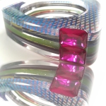 Custom Layered Acrylic Channel Set Bangle - (2)13x18mm Emerald Cut Lab Ruby 5