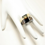 Double Channel Corian and Silver Ring with Smokey Quartz & Citrine - on display hand 2