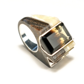 Double Channel Corian and Silver Ring with Smokey Quartz & Citrine - Side View