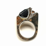 Double Channel Corian and Silver Ring with Smokey Quartz & Citrine - Sorrel Side