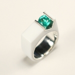 Engagement Ring - Glacier White Corian Ring with Silver Band and Channel Set Emerald