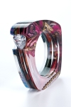 Transformed Trapezoid Bangle with Trillion Channel Set Stone