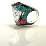 Layered Acrylic Sculpted Giant Gem Ring