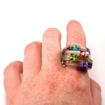layered acrylic stacking birthstone rings