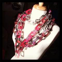 Layered Acrylic Chain Link Necklace