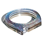 Thick Bangle with Channel Set Gem