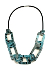 Thin Acrylic Chain Link and Rubber Necklace - Blue Side