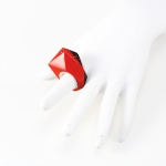 Pompeii Red - Hot Faceted Corian Ring