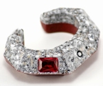 Pompeii Red - Platinum Faceted Corian Cuff 1